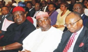L-R: Chairman, Governing Council, University of Lagos, Prof. Jerry Gana, Chairman, Governing Council, University of Calabar, Chief Emmanuel Iwuanyanwu and Chairman, Governing Council, Federal University of Agriculture, Umudike, Prof. Anya O. Anya, at a retreat for Governing Councils of Nigerian Federal Universities in Abuja, last Tuesday