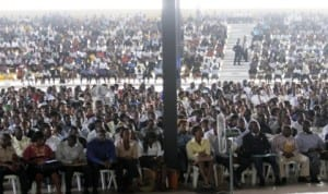 Crowed of applicants at the job fair organised by  Rivers State Sustainable Development Agency, at the University of Science and Technology, Port Harcourt