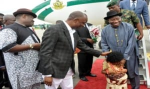 L-R:Deputy Governor of Rivers State, Engr Tele Ikuru, Governor Chibuike Amaechi,  welcoming President Goodluck Jonathan at the Port Harcourt International Airport, yesterday