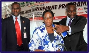L-R: Area Manager, Industrial Training Fund, Mr Abdul-Rasaq Adenwan, Permanent Secretary, Rivers State Ministry of Employment Generation and Empowerment, Mrs Comfort Iragunima and Special Adviser to Rivers State Commissioner for Employment Generation and Empowerment,Mr Moses Harry, at the launch of National Industrial Skills Development in Port Harcourt, yesterday