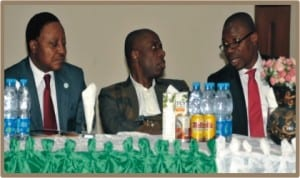 Rivers State Governor, Rt. Hon. Chibuike Rotimi Amaechi (middle), Secretary to the State Government, Mr. George Feyii (left) and state Commissioner for Budget and Economic Planning, Hon. Charles Gogo Levi, during the 2014 pre-budget orientation and sensitization workshop in Port Harcourt, yesterday.