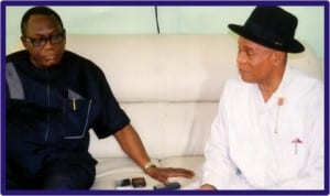 Chairman, Rivers State Civil Service Commission, Sir Ngo Martyns-Yellowe (left), with his Bayelsa State counterpart, Elder Bob Ozoka , during a courtesy visit of Ozoka  to Rivers State , yesterday.   Photo; Chris Monyanaga