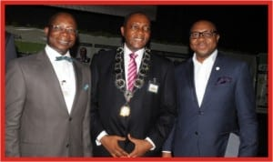 L-R: General Manager, Human Resources and Administration, RSSDA, Mr. Tonye Sukubo, President, Chartered Institute of Personnel Management (CIPM),  Mr. Victor Famuyibo and Executive Director/ CEO, RSSDA, Mr. Noble Pepple,  after the Agency received the 2013 CIPM HR Best Practice Award in Abuja, last Thursday.