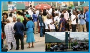 Newly recruited 13,000 teachers chased out of the Liberation Stadium, where they were billed to collect their appointment letters, Wednesday by men of the Rivers State Police  Command. Inset: Anti-riot police vans stationed outside the stadium to abort the ceremony.