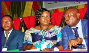 L-R: Director, Federal Ministry of Information, Mr Joe Obudeze, Permanent Secretary, Dr Folashade Yemi-Esan and Osun State Commissioner for Information, Mr Sunday Akere, at the Technical Session of the 44th National Council on Information in Osogbo last Wednesday