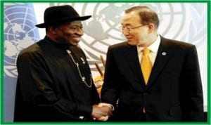 UN Secretary-General, Mr Ban Ki-Moon (right), welcoming President Goodluck Jonathan to the UN Headquarters in New York, last Tuesday.