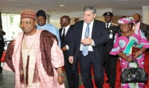 L-R: Vice President Namadi Sambo,  UN Secretary General 's Special Envoy  on  Global Education (UNSE), Mr Gordon Brown and  Minister of Finance, Dr Ngozi Okonjo-Iweala, at a conference on Accelerating Progress in Attainment of Education for All in Nigeria in Abuja, last Monday.