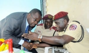 L-R: Representative of Rivers State Commissioner for Works, Mr Bateim Ogariawo; Representative of Zonal Commanding Officer Federal Road Safety Corps (FRSC), Mr Shehu Umar and Sector Commander, Rivers State, Mr Sunday Oghenekaro, at FRSC sensitization forum on speed limiting devices and other new services of the Corps in Port Harcourt , yesterday