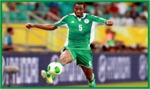Super Eagles' Efe Ambrose in action during one of the qualifiers for Brazil 2014 World Cup