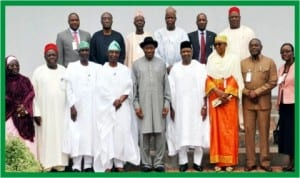 President Goodluck Jonathan (middle), Vice-President Namadi Sambo (4th right) with members of the Presidential Advisory Committee on National Dialogue after their inauguration in Abuja last Monday