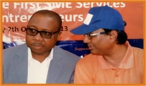 Executive Director, RSSDA, Mr Noble Pepple (left), with Managing Director, ICMSE Nigeria Limited, Dr Mostaq Ahmed, during the presentation of starter packs to micro entrepreneurs in Woji Town, near Port Harcourt, last Monday. Photo: Egberi A. Sampson