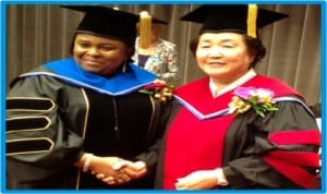 First Lady Dame Patience Jonathan (left), with the President, Hansei University, Prof. Sung-Hae Kim, during her conferment with Honorary Doctorate degree in Social Welfare and Administration at Hansei University, Seoul,  yesterday