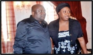 Speaker, Rivers State House of Assembly, Rt Hon Otelemaba Dan Amachree (left), with Mrs Sotonye Harry, wife of former Speaker of the House, Late Rt Hon Tonye Harry, during a condolence visit by members of the House in Port Harcourt, last Wednesday