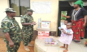 Men and officers of 302 Artillery Regiment, Onitsha in Anambra State, donating gift items and undisclosed amount of cash to motherless babies home in Otuocha, Anambra East LGA, yesterday.