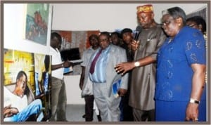 L-R: Director,  Rivers  Arts and Culture Council, Mr Deede Baede; Chairman, Rivers  Indigenous Visual Artists,  Mr Patrick Jumbo and Permanent Secretary, Rivers State  Ministry of  Culture and Tourism,  Mrs Grace Akpughunum-Okwulehie,   at the Rivers Indigenous Visual Artists Exhibition In Port Harcourt, yesterday