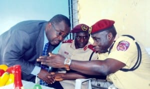 From Left: Representative of Rivers State Commissioner for Works, Mr Bateim Ogariawo; Representative of Zonal Commanding Officer Federal Road Safety Corps (Frsc), Mr Shehu Umar and Sector Commander, Rivers, Mr Sunday Oghenekaro, at Frsc Sensitization Forum on Speed Limiting Devices and other new services of the Corps in Port Harcourt  recently Photo: NAN