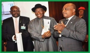 L-R: Director-General, National Identity Management Commission (NIMC), Mr Chris Onyemenam, President Goodluck Jonathan and the NIMC Board Chairman, Prince Uche Secondus, at the official launch of the National Identity Programme at the Presidential Villa in Abuja, yesterday