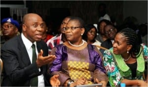 L-R: Rivers State Governor, Rt. Hon. Chibuike Amaechi, former Minister of Education, Dr. Oby Ezekwesili and Founder, Rainbow Book Club,   Mrs Koko Kalango, during the sixth Port Harcourt Book Festival  in Port Harcourt, yesterday.