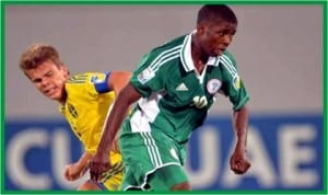 Golden Eaglets playmaker, Iheanacho outwits his Swedish marker in yesterday's match.