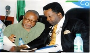 President, PHCCIMA, Engr Emeka Unachukwu (right) conferring with 1st Deputy President, PHCCIMA, Dr Renny Cookey, during a membership induction in Port Harcourt, recently.