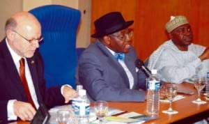 L-R: German Secretary of State, Mr Harold Braun, Permanent Secretary, Ministry of Power,   Amb. Godknows Igali and Secretary, National Energy Council, Mr Ibrahim Njiddah, at the 7th Annual  Conference of the Nigerian-German Energy Partnership in Abuja, yesterday .           Photo: NAN