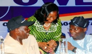 L-R: Governor Adams Oshiomhole of Edo State, wife of the Governor of Benue State, Mrs Yemisi Suswan and  Governor Babatunde Fashola of Lagos State, at the Conference of Committee of Wives of Lagos State Officials (Cowlso) in Lagos,  recently. Photo: NAN