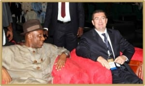 Rivers State Governor, Rt. Hon. Chibuike Amaechi (left), with Ambassador of Italy to Nigeria, His Excellency, Roberto Colamine, during the Nigeria Oil and Gas Trade and Investment Forum, in Onne, yesterday