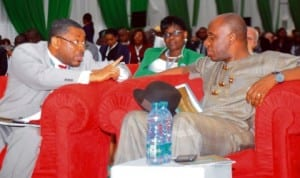 L-R:  Representative of Minister of Petroleum Resources,  Mr Abiye Membre (left)  and  Governor Chibuike Amaechi of Rivers State,  at the 2013 Nigeria Oil and Gas Trade and Investment Forum in Port Harcourt last Thursday.