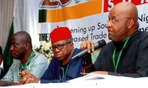 L-R: National Coordinator, Traders Rights Initiative, Comrade Christopher Okpala, former Minister of Foreign Affairs, Chief Ojo Maduekwe and Moderator, Dr Okey Ikechukwu, at the South-East Economic Summit in Enugu yesterday. Photo: NAN