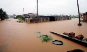 Submerged houses on Azinge Crescent, GRA, Benin City after a down pour recently