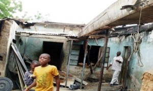 A house gutted by fire in Misau Town, Bauchi State.
