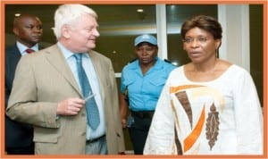 UN Peace-keeping Chief, Herve Ladsous (left), being received by the Special Representative of the UN Secretary-General at the UN operations in Cote d'Ivoire, Ms Aitchatou Mindaoudou in Abidjan last Wednesday.