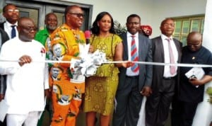 Governor Peter Obi of  Anambra State (2nd left), inaugurating the South-East zonal office of Pension Commission in Awka last Wednesday. With him are, chairman, Senate Committee on Establishment and Public Service, Senator Aloysius Etuk (left), Director-General, PENOOM, Mrs Chinelo Anohu-Amazu and other dignitaries.