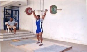 A weightlifter lifting 110KG during a national event in Port Harcourt, recently