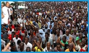 A mammoth crowd cheering Rivers State Governor, Rt. Hon.  Chibuike Rotimi Amaechi, during the visit of APC leaders to the state, yesterday. Inset: Governor Amaechi addressing the crowd.
