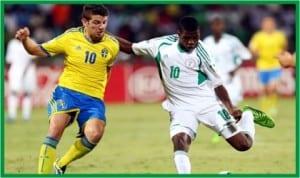 Golden Eaglets playmaker, Kelechi Ihenacho outsmarting Swedish defenders.