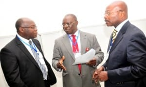 L-R:  Director, Policy and Planning, Ministry of Roads and Highways, Ghana, Mr Godwin Brocke, Director General, National Agency for the Control of AIDS (NACA), Prof. John Idoko and Executive Secretary, Alco, Mr Edy Anthony, at the 2nd annual statutory meeting of Abidjan-Lagos Corridor Organisation Governing Board in Abuja last Monday. Photo:  NAN