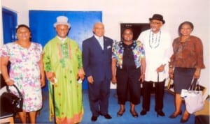 L-R: National Treasurer, Association of Justices of the Peace, Deaconess Ngozi Wagbara, Vice Chairman, Eze G. W. Onuekwa, Chairman of the association, Deacon G. S. Bereiweriso, Director of Administration, Rivers State Newspaper Corporation, Mrs Emi Jameson, Secretary General of the association, Alabo Silas Okansin and Assistant Secretary, Dame Sotonye Donbtaye, during the association's courtesy visit to the corporation on Monday.