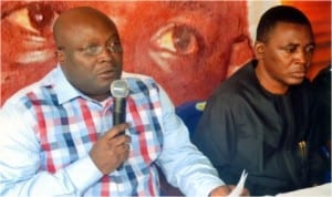 Speaker, Rivers State House of Assembly, Rt. Hon. Otelemaba Amachree (left), announcing the burial arrangement of his late predecessor, Rt. Hon. Tonye Harry, during a press conference last Monday. With him is the Deputy Speaker, Hon Leyii Kwanee.