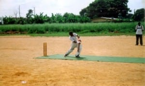 A cricketer in action during a national event in Port Harcourt, recently