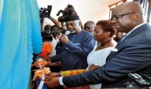 L-R: Governor Liyel Imoke of Cross River State,  UNFPA country representative, Ms Victoria Akyeampong and Resident Coordinator, UN System in Nigeria, Mr Daouda Toure, at the inauguration of UN House donated by Cross River Government in Calabar, last Tuesday. Phhoto: NAN