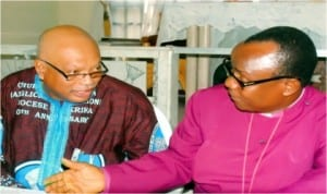 Bishop of Diocese of Okrika Anglican Communion, Rt. Rev. Tubokosemie Akere (right), discussing with Chairman, 10th Anniversary Planning Committee, Chief Nemi Adoki, during a press briefing in Okrika, yesterday. Photo: Eberi A. Sampson.