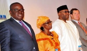 L-R: Deputy Governor of Cross River State, Mr Efiok Cobham; Representative of the Ministry of Water Resources, Mrs Laraba Bagaiya; Representative of Governor of Benue, Dr Salifu David and Manager, Global Sanitation Fund, Mr Mark Willis, at the launch of Global Fund/ Rural Sanitation and Hygiene Promotion in Nigeria programme in Abuja, recently. Photo: NAN
