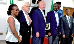 L-R: Senior Special Assistant to Lagos Governor on Transport Education, Dr Marian Masha; member, International Association of Directors of Law Enforcement & Training, usa, Mr Val Luban; team leader, Mr David Harvey; Governor Babatunde Fashola of Lagos State chairman, Lagos State task force, Mr Bayo Sulaiman during the visit of the association to Governor Fashola in Lagos last Tuesday. Photo: NAN