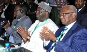 L-R:1st Vice President, National Assembly of Djibuti, Mr Mohamed Hoomed, former UN Undersecretary, Prof. Ibrahim Gambari and former President, African Development Bank, Dr Babacar Ndiaye, at the 1st Africa Legislative Summit in Abuja last Monday. Photo NAN