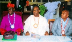 L-R: Dean, Church of Nigeria (Anglican Communion), Most Rev I. C. O. Kattey JP, former Military Administrator of Rivers State, Maj.-Gen. Godwin Abbe and member, Rivers State House of Assembly, representing Gokana Constituency, Hon. Innocent Barikor, during Life Member Conference Fund Raising for the Bible House Project, organized by the Bible Society of Nigeria, Rivers/Bayelsa Area, in Port Harcourt, yesterday. Photo: Obinna Prince Dele