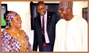 L-R: Senator Jewel Taylor of Liberia, President Pro-tempore of Liberian Senate, Senator Gbehzohngar Findley and Senate President David Mark, during their courtesy visit to the Senate Present in Abuja, yesterday.