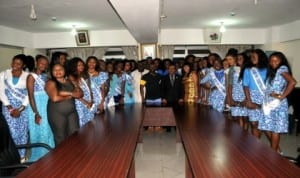 Scretary to the Rivers State Government (middle)  Dr George Feyii with beauty contestants who paid him a courtesy visit in his office