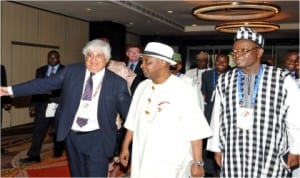L-R: Chairman, Commomwealth Business Council, Mr Mohan Kowl, Vice President Namadi Sambo, Minister of State for Trade and Investment, Dr Samuel Ortom and Senior Special Adviser to the Vice President on Special Duties, Mr Isiah Balat, at the Commonwealth Business Forum during 2013 CHOGM in Colombo , Sri Lanka, yesterday.