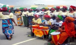 Christian Association of Nigeria (Can) women's wing entertaining at the farewell  for intending Christian pilgrims to Israel. Photo: NAN